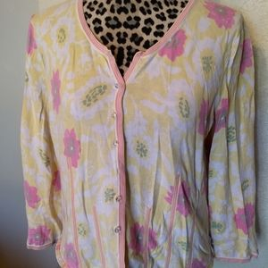 Yellow with pink flowers pajama button shirt